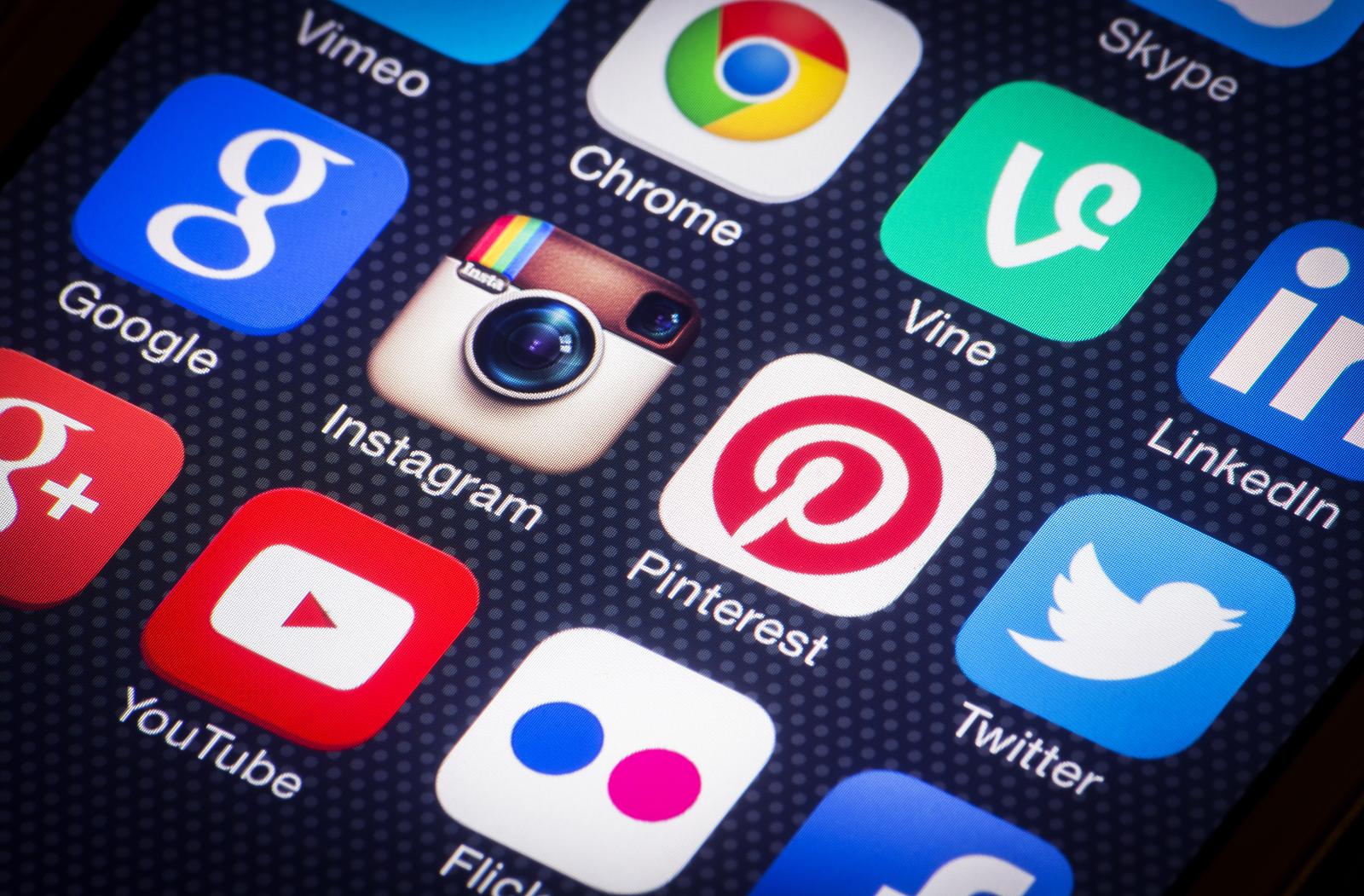 Social Media Icons On Smartphone Presence Web Design
